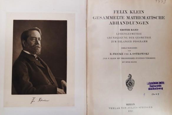Felix Klein im Springer-Verlag