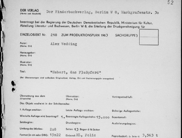 """Druckgenehmigungsantrag des Kinderbuchverlags für """"Hubert das Flusspferd"""""""